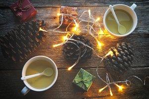 Green tea and Christmas decoration