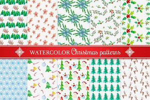Watercolor Christmas Patterns Set 4