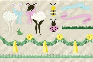 Spring Fling Lambs Clipart Vectors
