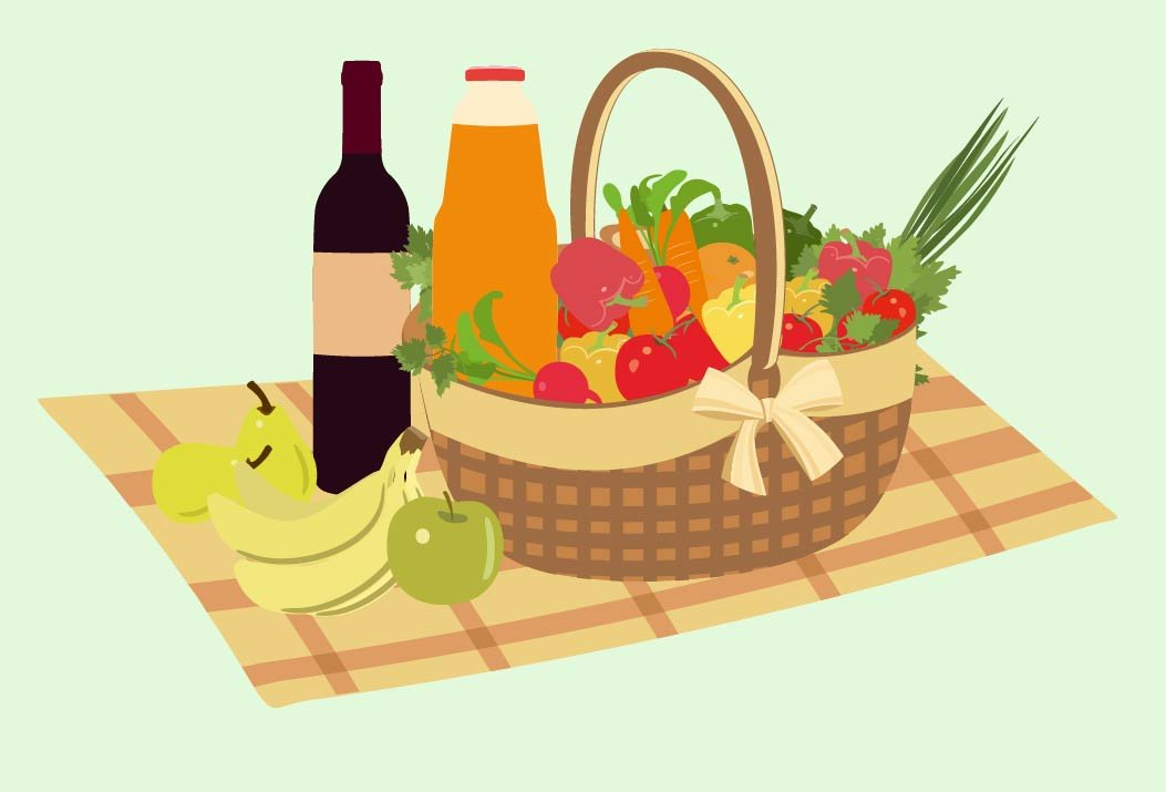 Picnic Basket Graphic : Picnic basket filled with food illustrations creative