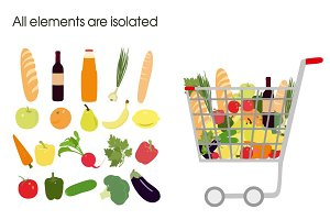 Shopping trolley with food