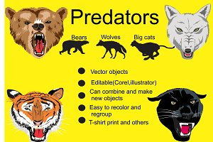 Hunter animals vector set