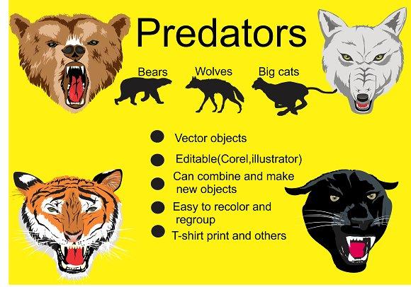 Hunter animals vector set