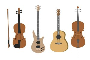 Musical Instruments flat style set
