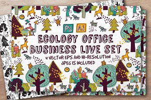 Ecology office business vector set