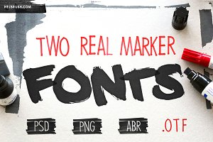 TWO REAL MARKER FONTS