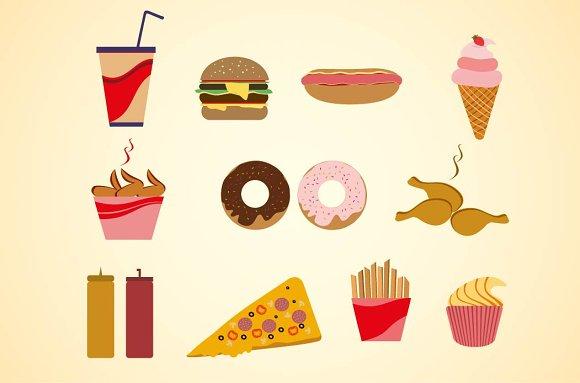 Cartoon fast food flat icons