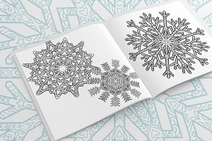 Three snowflakes in tracery style