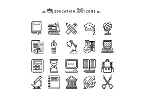 Set of Lines Education Icons