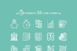 Set of Outline Finance Icons