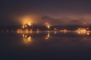 Lake Bled on some foggy night