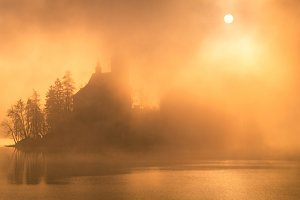 Island with the church in the fog
