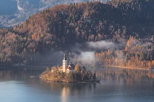 Lake Bled island on a foggy morning