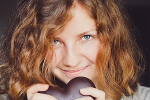 Young Girl with a Chocolate Heart