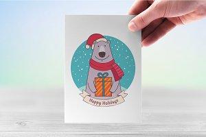 Funny festive bear in santa hat