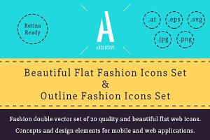 Fashion Flat & Outline Icons
