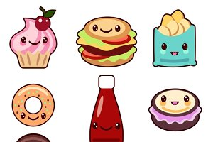 Kawaii fast food and fruit