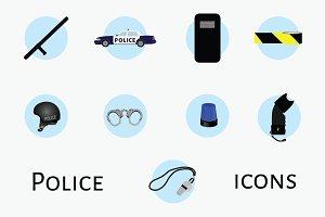 Police flat icon set