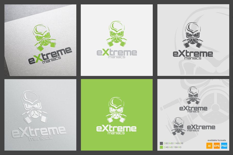 Extreme Maniacs Logo Template in Logo Templates - product preview 1
