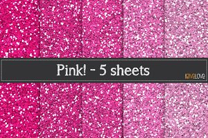 Pink Glitter Paper Pack