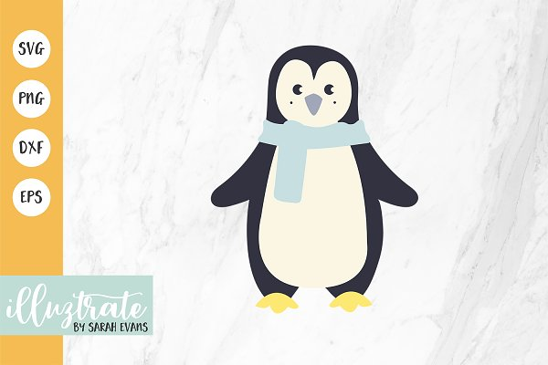 Winter Penguin Svg Cut Files Craft Pre Designed Illustrator Graphics Creative Market