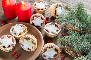 Mince pies with fir branch