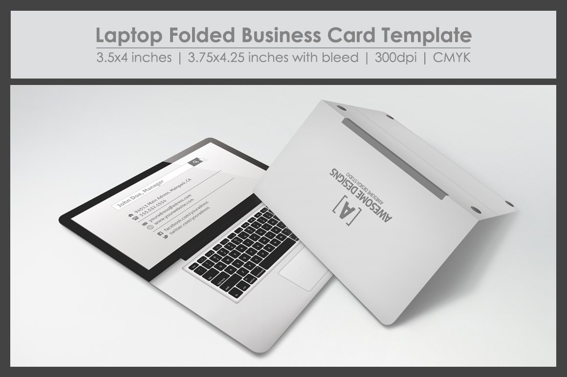 Laptop folded business card template business card templates laptop folded business card template business card templates creative market flashek Choice Image