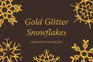 Gold Glitter Snowflakes