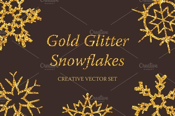 Gold Glitter Snowflakes