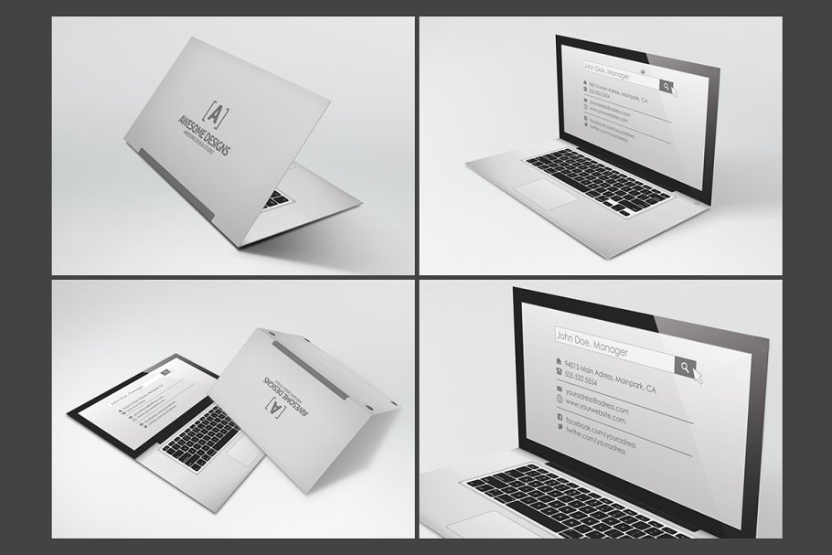 Laptop folded business card template business card templates laptop folded business card template flashek Choice Image