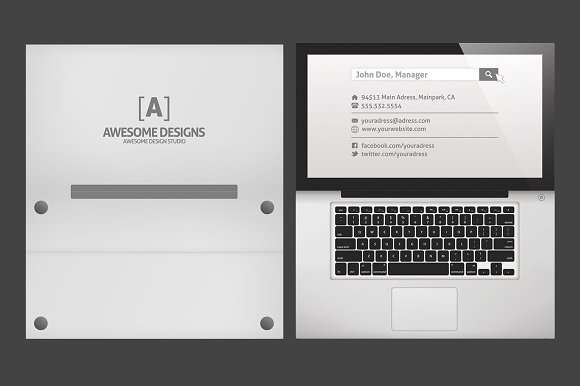 Laptop Folded Business Card Template Templates Creative Market