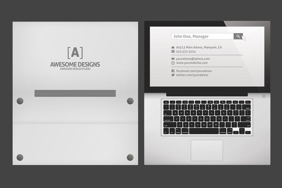Laptop Folded Business Card Template - Business Card Templates ...