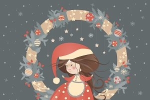 Cute lady christmas in wreath
