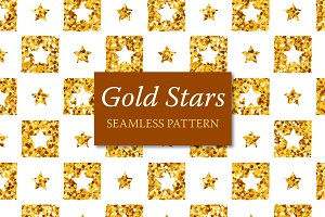 Gold Stars Seamless Pattern