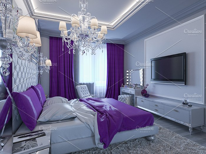 3d rendering modern bedroom illustrations creative market 17803 | 3d rendering bedroom in gray and white tones with purple accent 1449507076 s 03cbff226fc242ff5c946075a07b820a