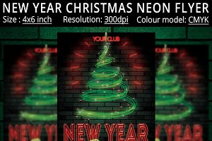 New Year Christmas Neon Party Flyer