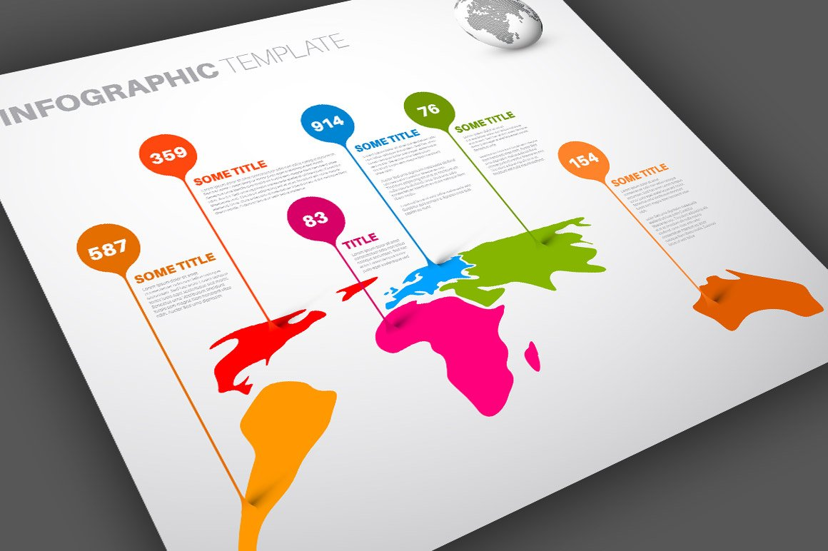 World map infographics template 4 illustrations creative market gumiabroncs Gallery