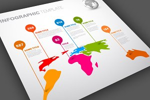 World Map Infographics Template 4