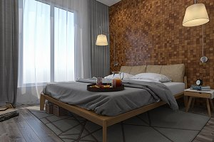 3d render design modern bedroom