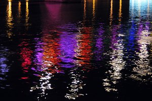 Lights reflections in the water