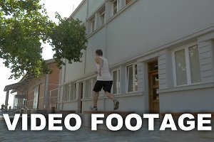 Teenager performing parkour