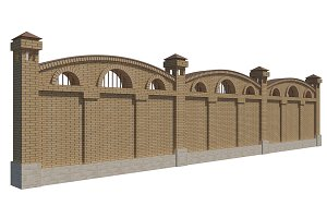 3D illustration of a brick fence