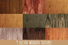 Set of 9 vector wooden textures