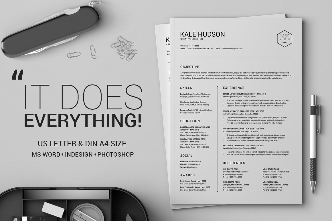 Clean Resume Cv Hudson Resume Templates Creative Market - Cv-clean-resume