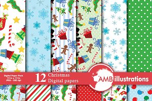 Digital Papers,Santa's Paper AMB-512