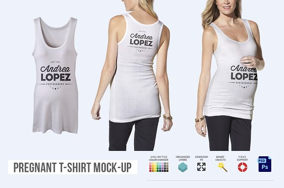 Download Pregnant T-shirt Mock-up