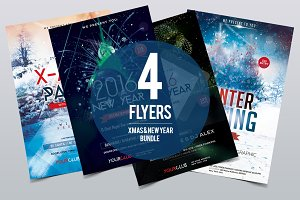 Xmas & New Year Bundle 4 PSD Flyers