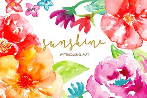 Watercolor Clipart Sunshine