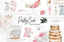 Pastry-Cook bakery watercolor set