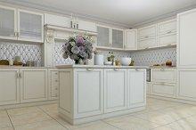 3D render of white kitchen